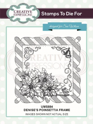 Denise's Poinsettia Frame Pre Cut Stamp